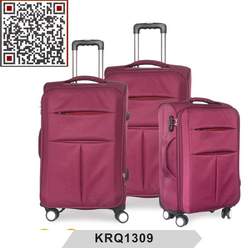 Soft Nylon Double Wheel Inside Trolley Luggage