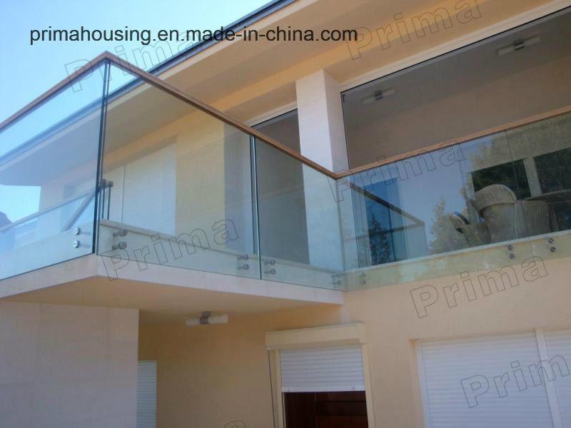Curved / U Shape Balcony Aluminum Glass Balustrade for Sale