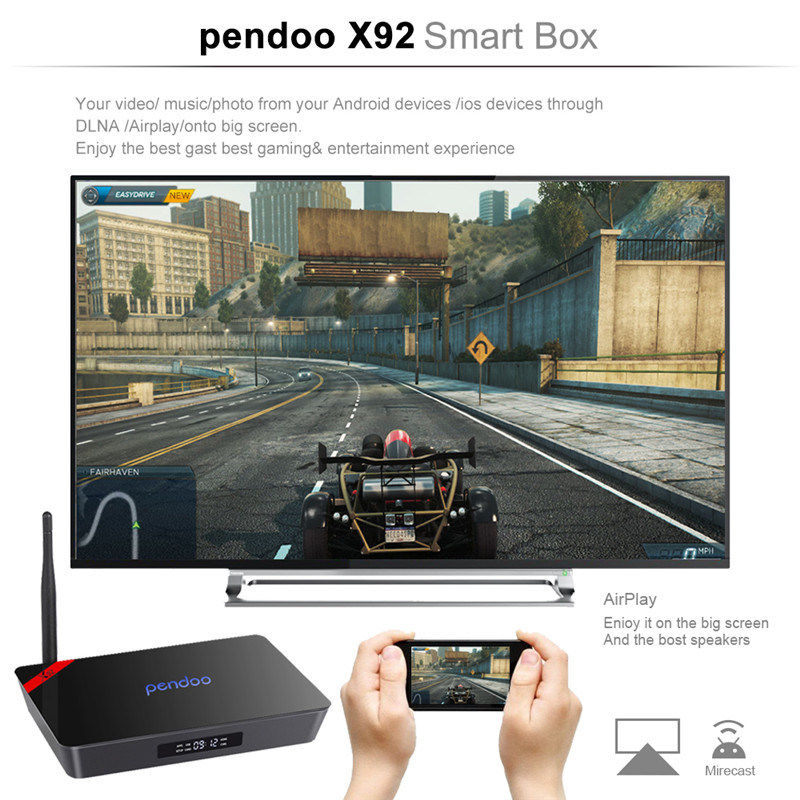 Android 6.0 Smart TV Box Pendoo X92 S912 PRO Amlogic S912 2GB/16GB OEM TV Box