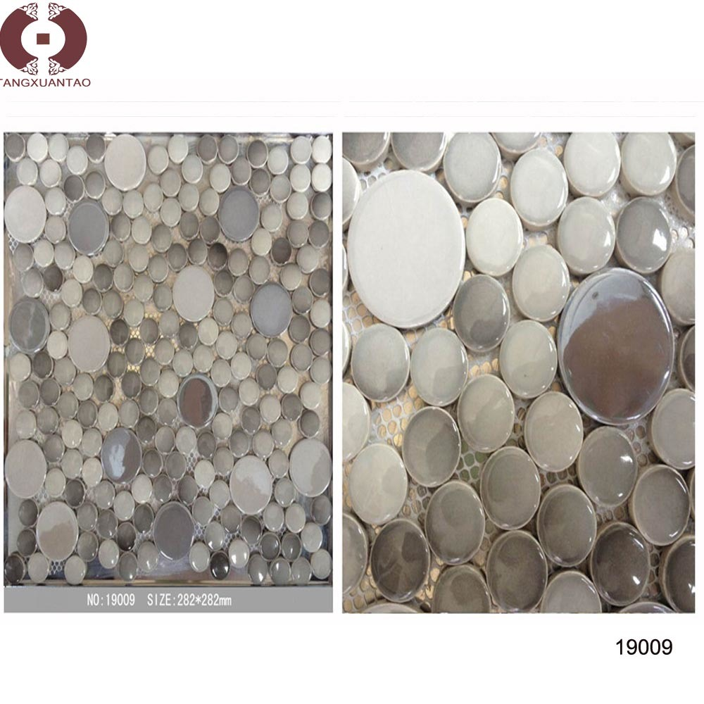 Round Glass Ceramic Stone Mosaic Building Material (19009)