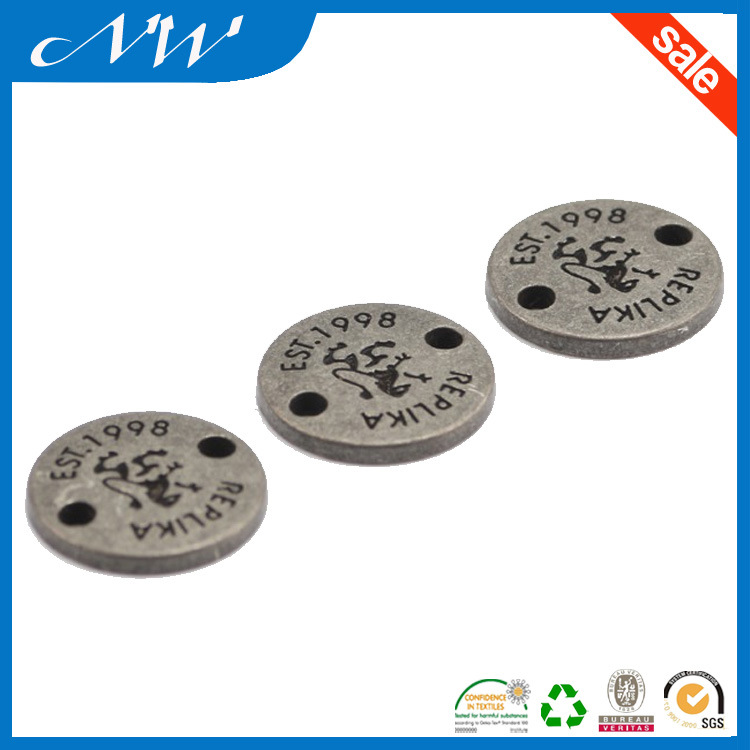 Round Shape Old Silver Metal Plate for Luggage Bag