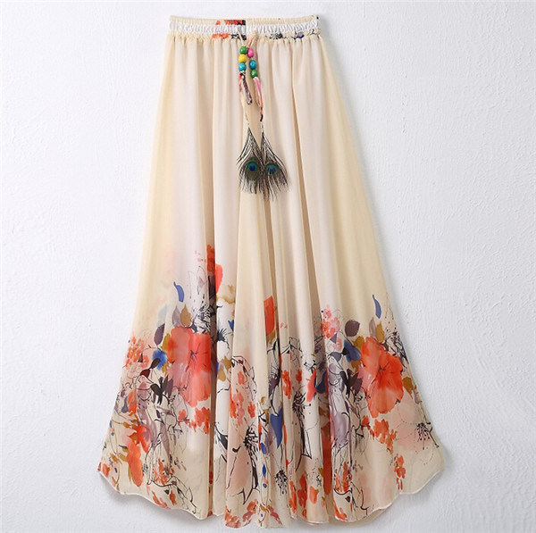 2016 Latest Design Women Printed Chiffon Beach Bohemian Skirt (16701)