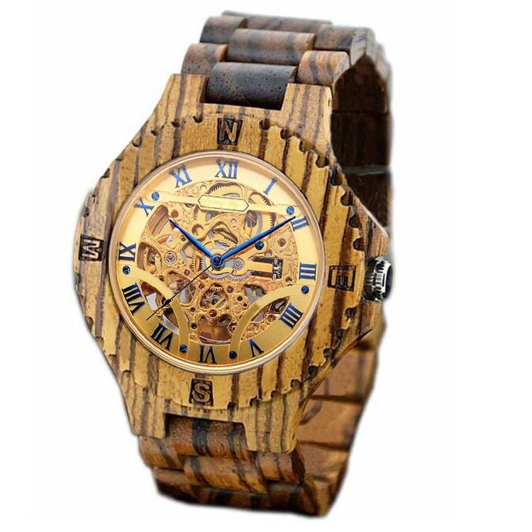 New Style Cheap Sanders Wooden Zebra Wood Quartz Watch (HL-CD003)