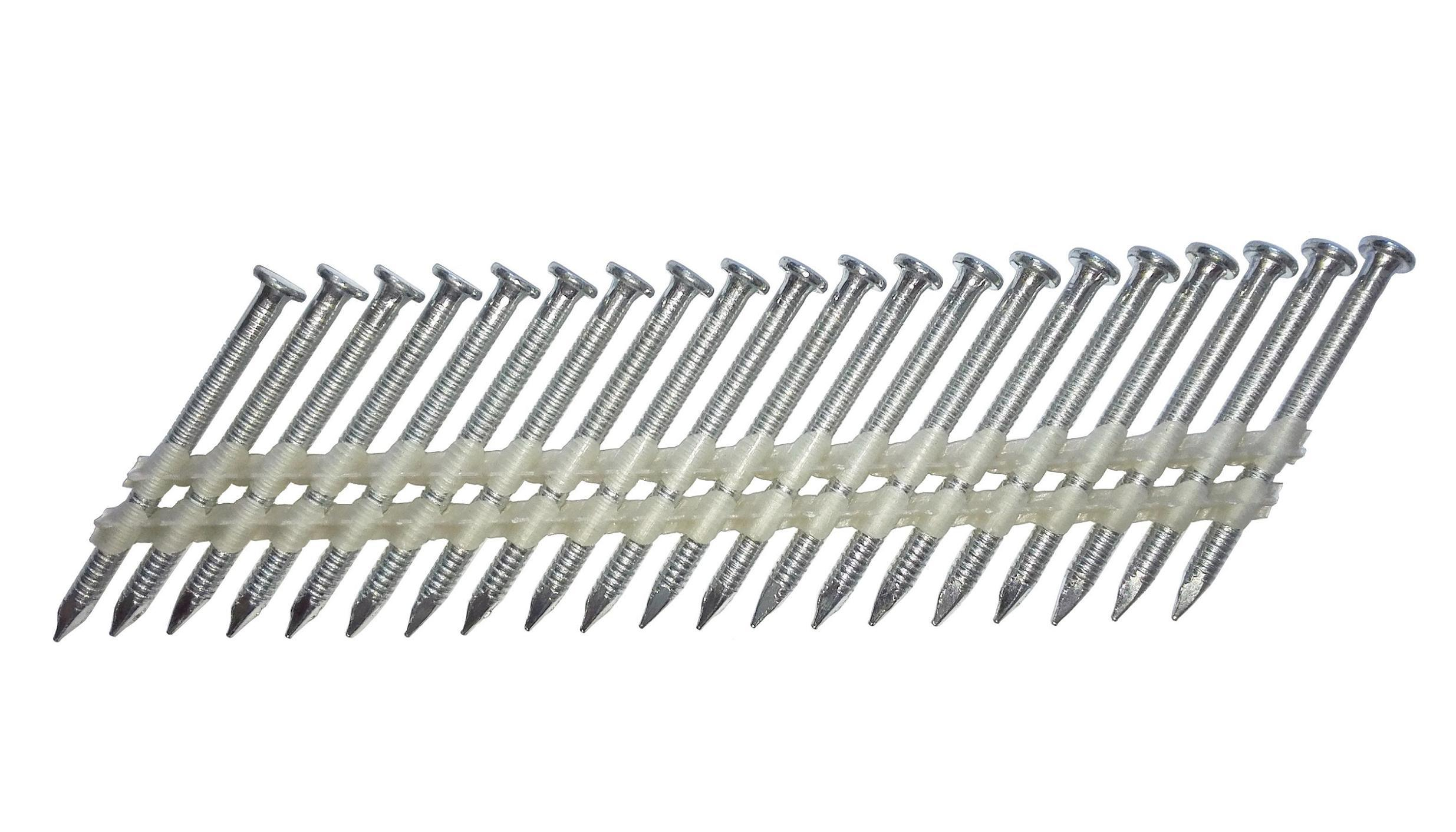 4.0 X 50mm Anchor Nails Plastic Strip Collated 34 Degree, 2000 Nails/Box