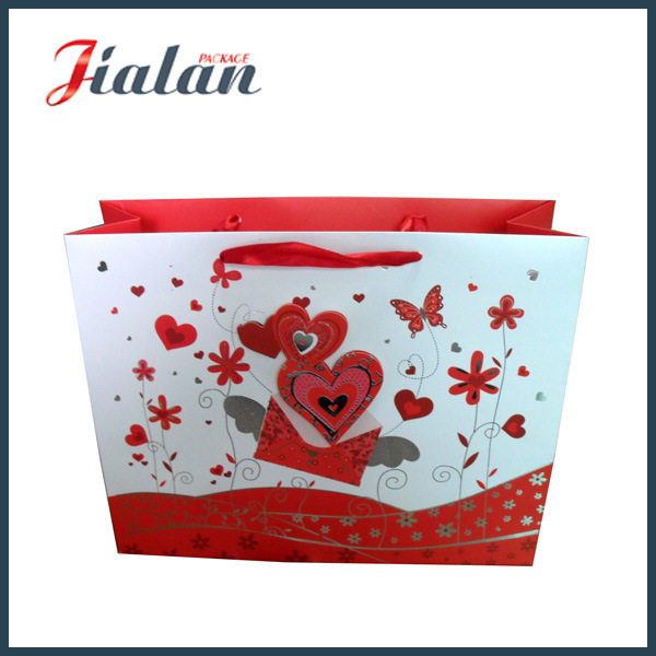 Customize 3D Red Heart Valentine′s Day Shopping Gift Paper Bag