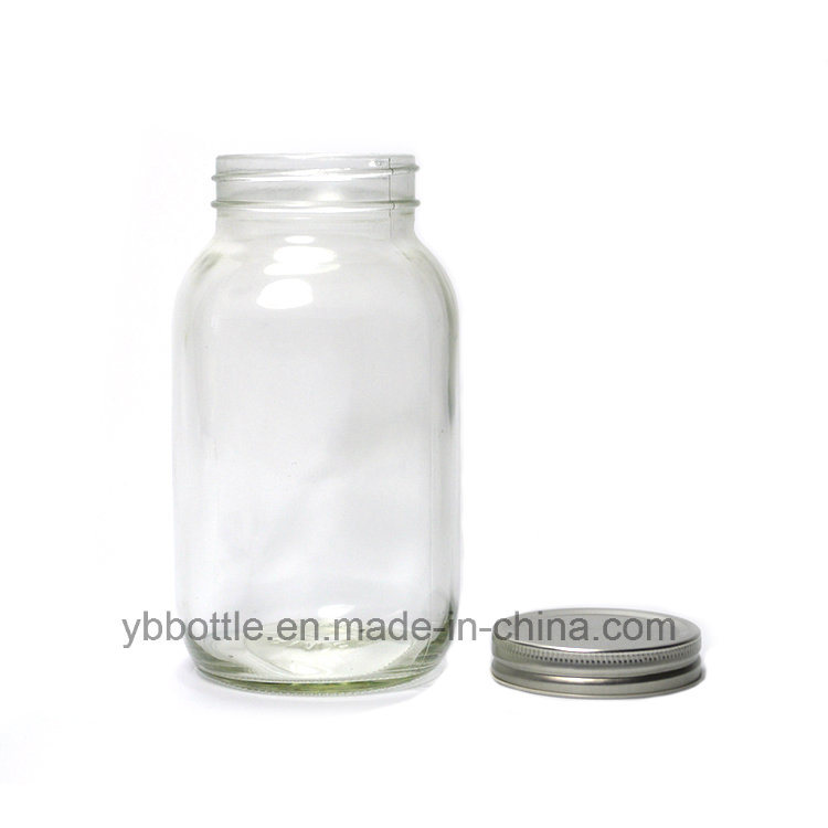 Candy Jar, 12oz/380ml Clear Round Mason Jar with White/Gold Lid