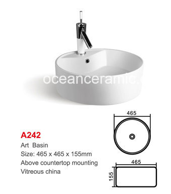Round Ceramic Bathroomwashing Art Basin (No., A242)