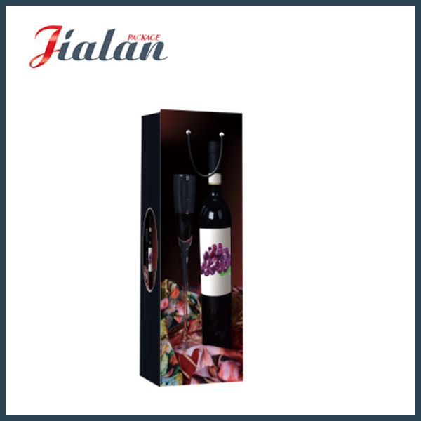 Matte Laminated Art Paper UV Wine Bottle Gift Paper Bag