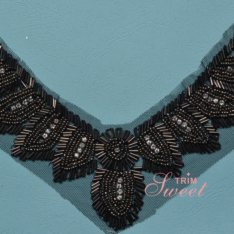 Black Net Lace Fabric Embroidery Collar Lace Applique Beaded Lace