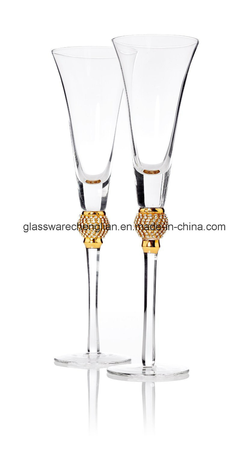 Gold Diamond Champagne Toasting Flute Glasses (B-CP026)