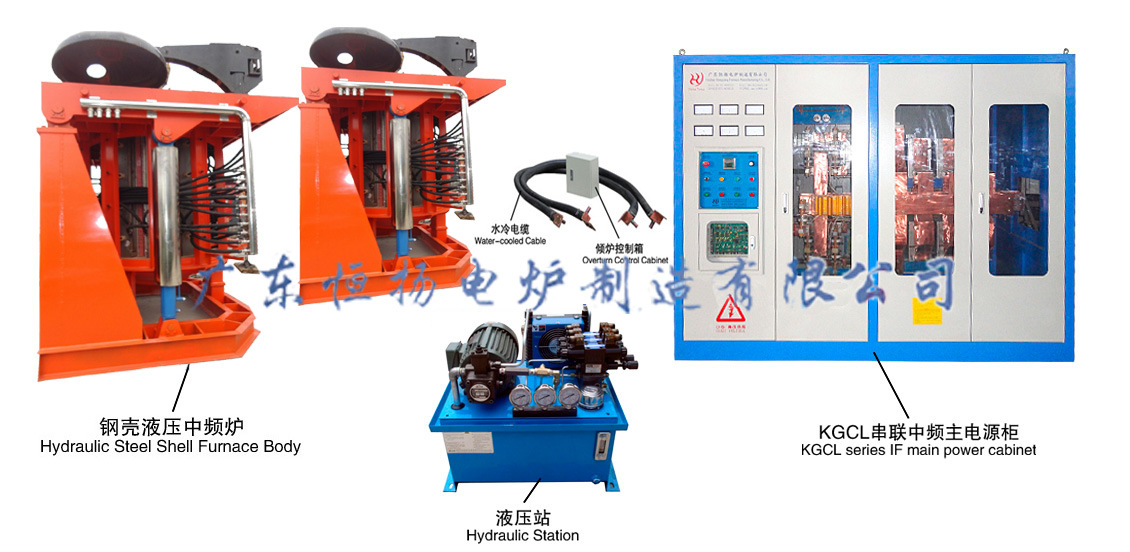 Hydraulic Steel Shell 0.5t to 40t Induction Melting Furnace