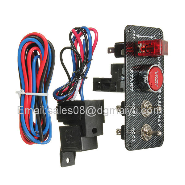 Vans Ignition Switch Panel DC12V LED Carbon Fibre Toggle Engine Start Push Button 12V Power Toggle Switch for Car Truck Racing