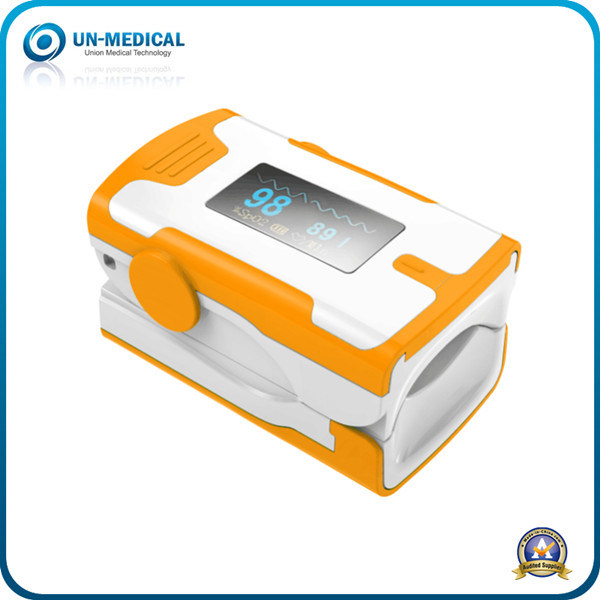 New-Colorful Fingertip Pulse Oximeter with SpO2 Waveform (white yellow)