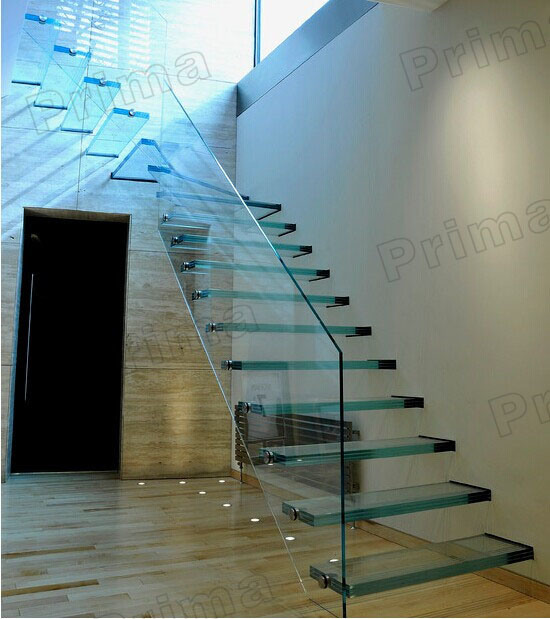 Laminated Glass Floating Staircase / Frameless Tempered Glass Railing Straight Stairs