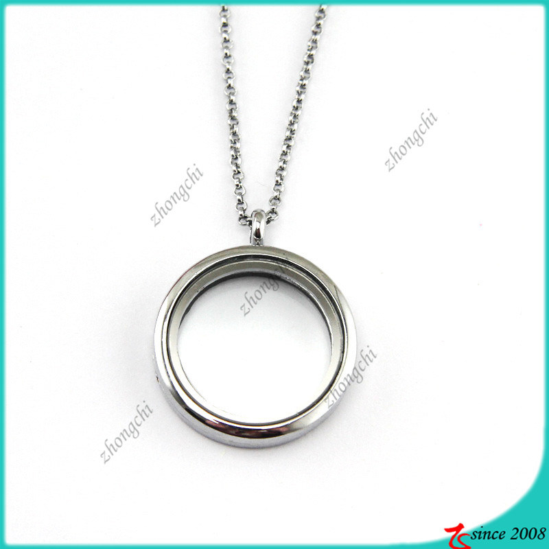 Silver Plain 35mm Round Glass Locket Necklace Wholesale (FL16040823)