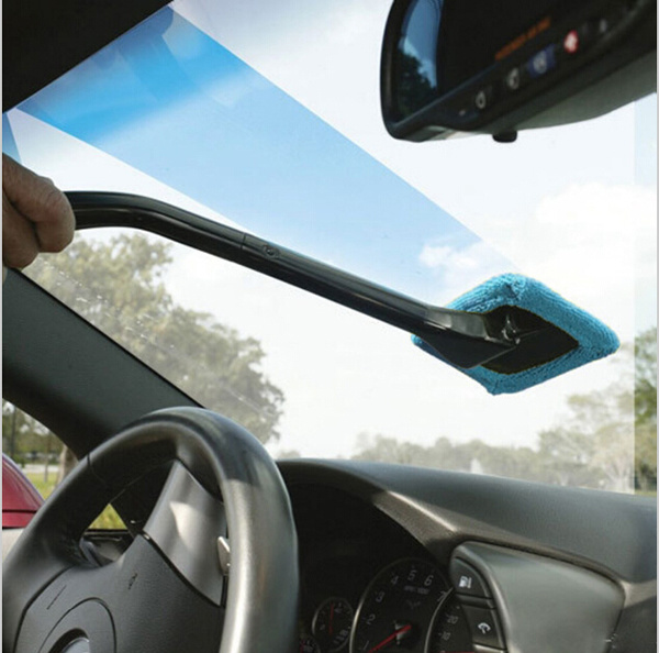 Microfiber Auto Window Car Cleaning Long Handle Car Wash Brush Dust Car Care Windshield Shine Towel Handy Washable Car Cleaner
