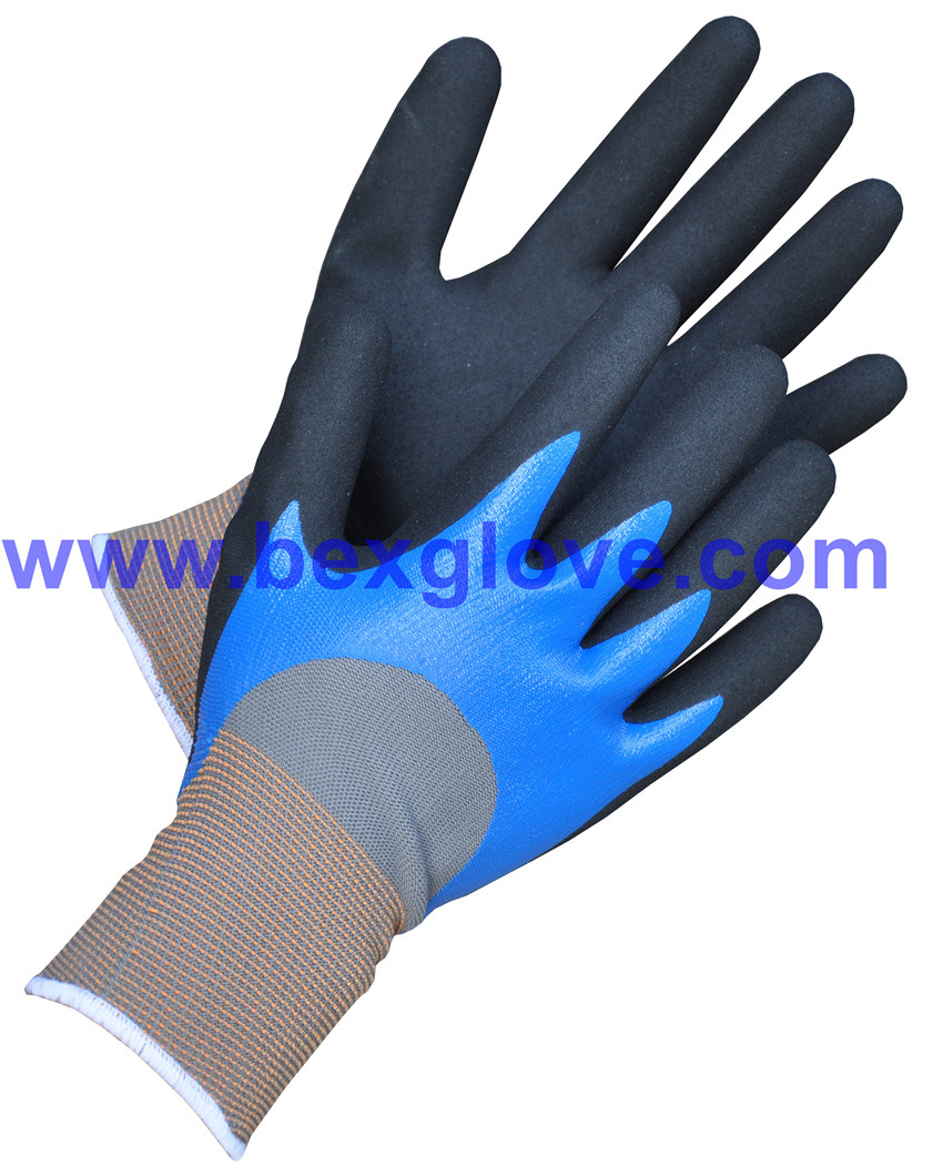 15 Gauge Nylon Liner, Nitrile Coating, 3/4, Double Coated, Sandy Finish Work Glove