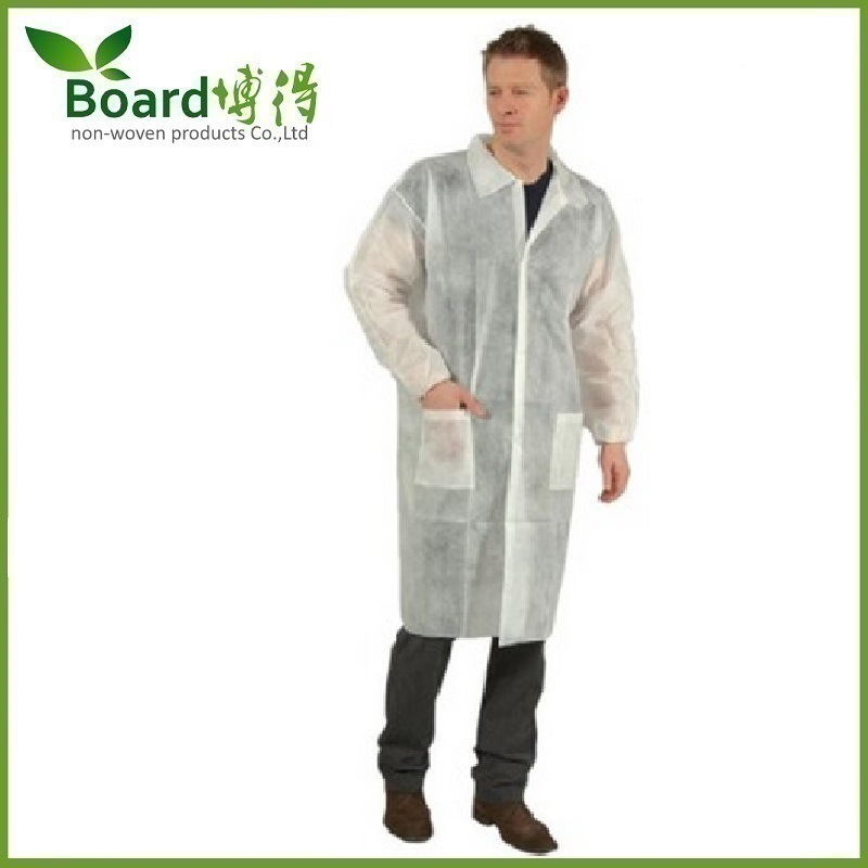 Disposable Nonwoven SMS PP Workwear/Lab Coat with Pocket