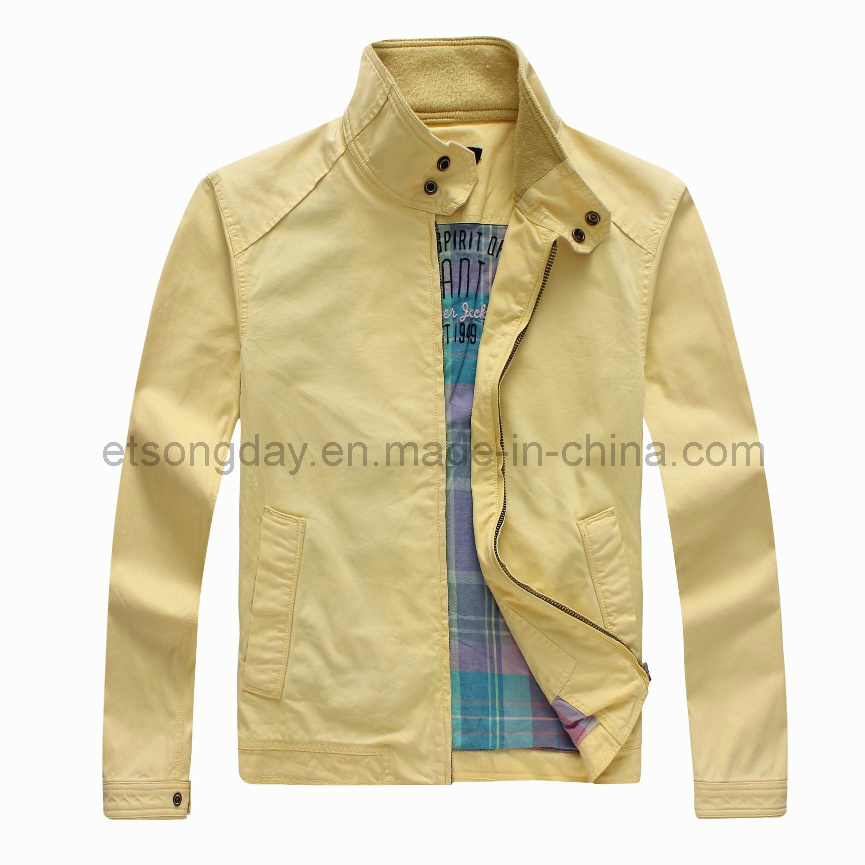 Yellow 100% Cotton Men′s Casual Jacket with Highneck (GT01293)