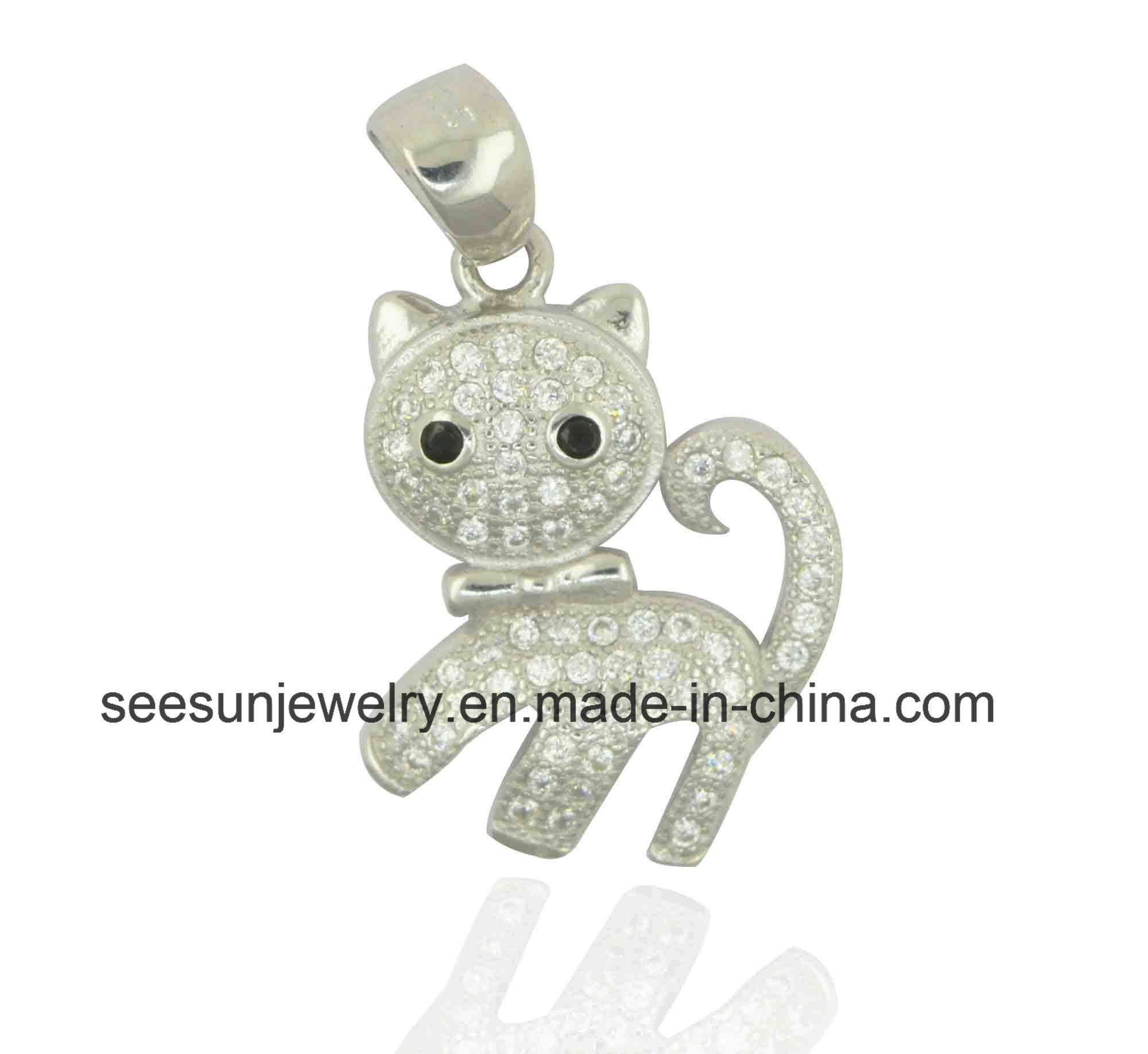 925 Sterling Silver Cute Animal Cat Pendant