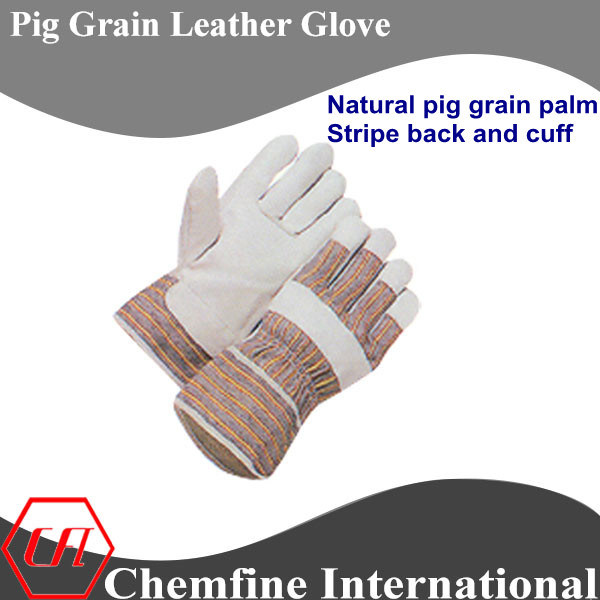Full Palm, Stripe Back and Cuff, Pig Grain Leather Work Gloves