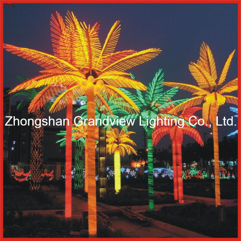 christmas light on a palm tree