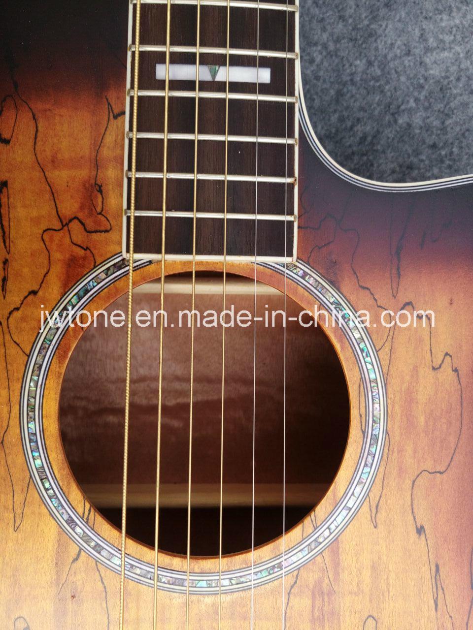 Multi Binding Abalone Inlay Custom Cutaway Quality Acoustic Guitar