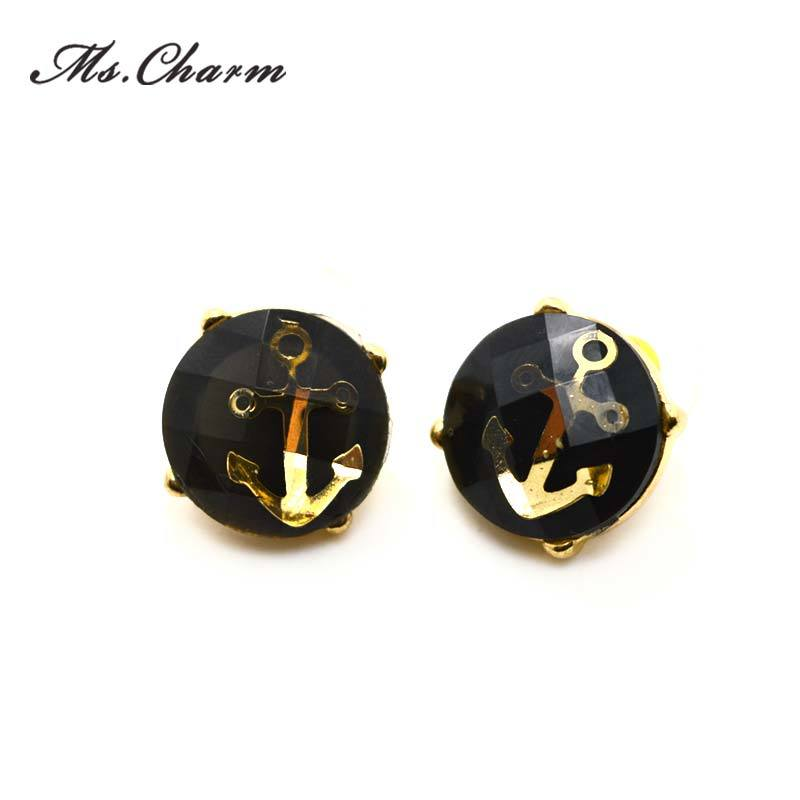 Women Acrylic Anchor Gold-Color Stud Earrings Christmas Gift Fashion Jewelry