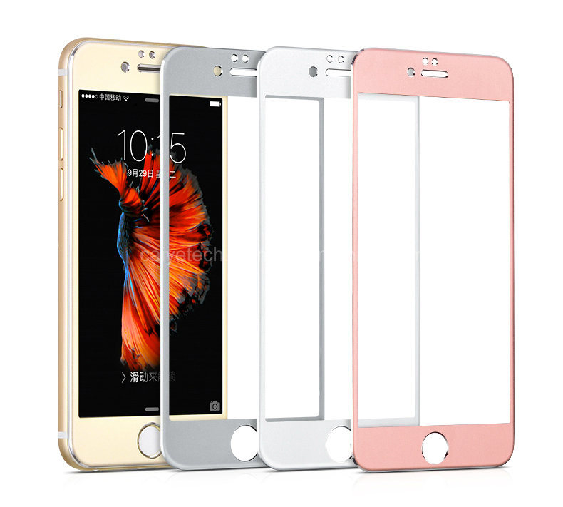 3D Titanium Alloy Edge Tempered Glass Screen Protector Phone Accessories with Protective Film for iPhone 6