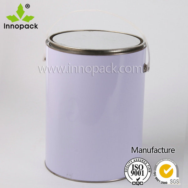 5L Metal Tin Bucket with Plastic Handle for Chemical Use