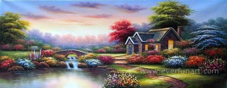 Garden Beautiful Landscape Oil Painting China Home Decor Wholesale (ERL-066)