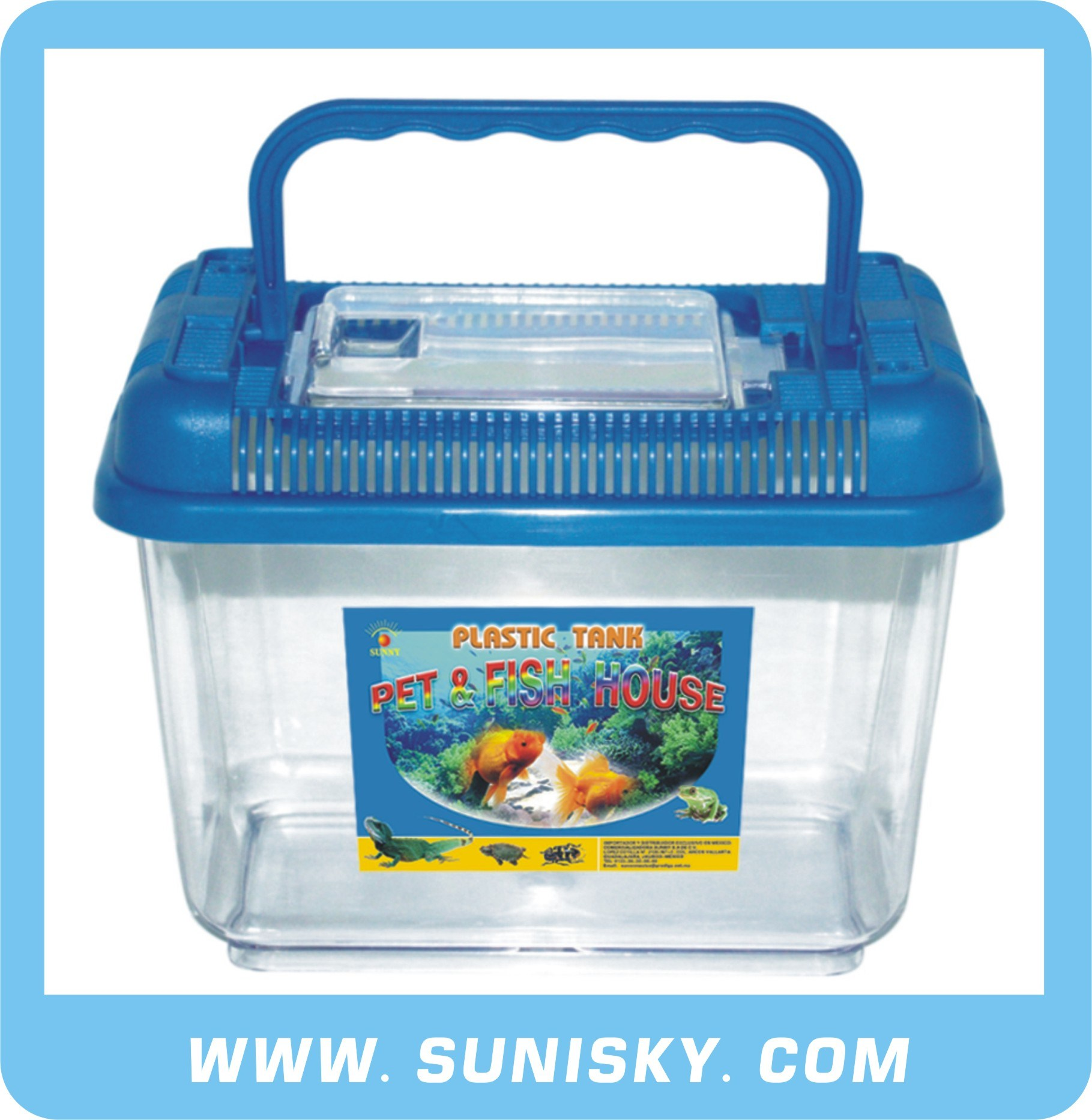 Plastic Aquarium : Plastic Fish Tank Blue SPF-8801