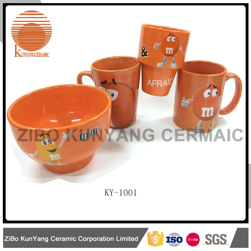 Mars mm Orange Decal Mug with Bowl Set