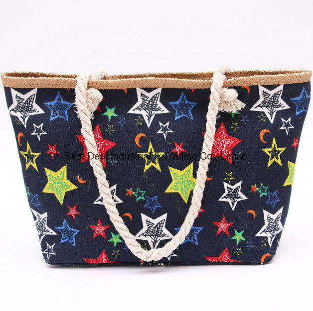 Five - Pointed Star Straw Large Buckle Bag