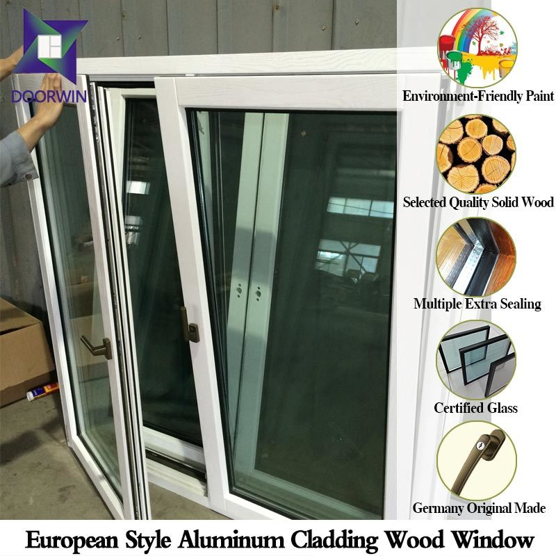Natural Wood Charm Tilt Opening Triple Glass Window, Hard Oak Wood Casement Window with Aluminium Cladding