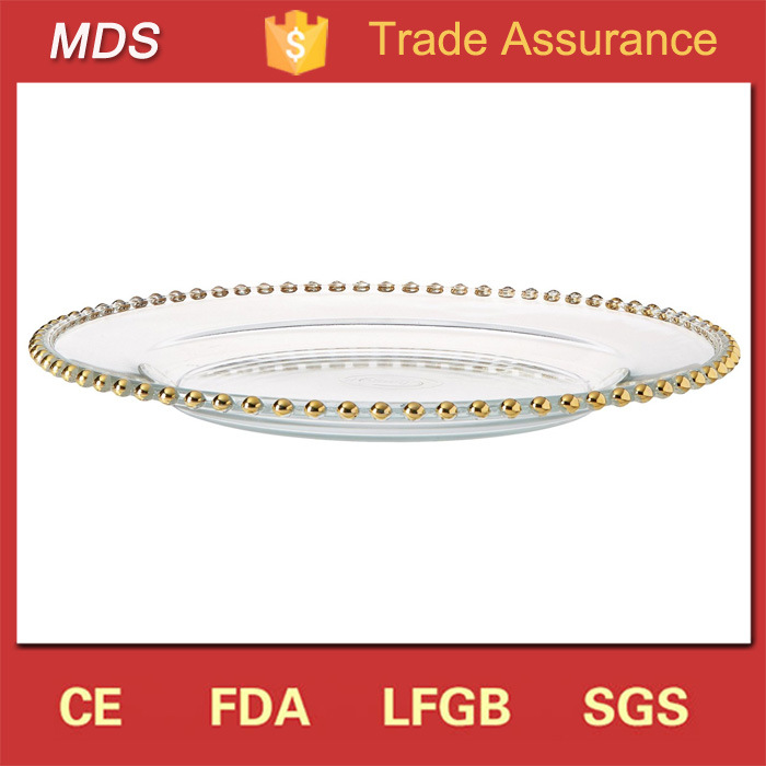 Hot Selling Round Beaded Gold Edge Plate Charger Plate