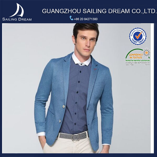 China 2015top Fashion Men Jacket One Button Light Blue Slim Fit