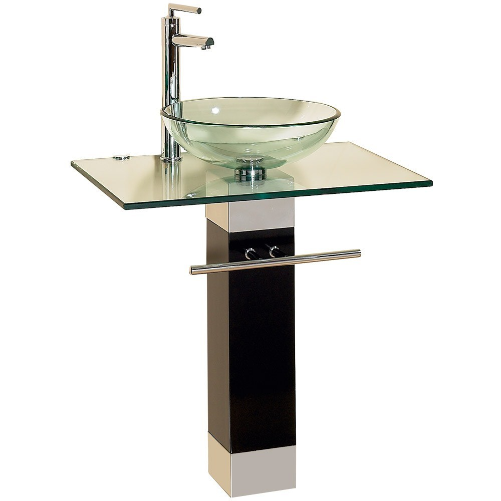 BATHROOM GLASS SINK VANITY