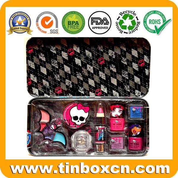Metal Gift Tin Box with Hinge for Makeup Set