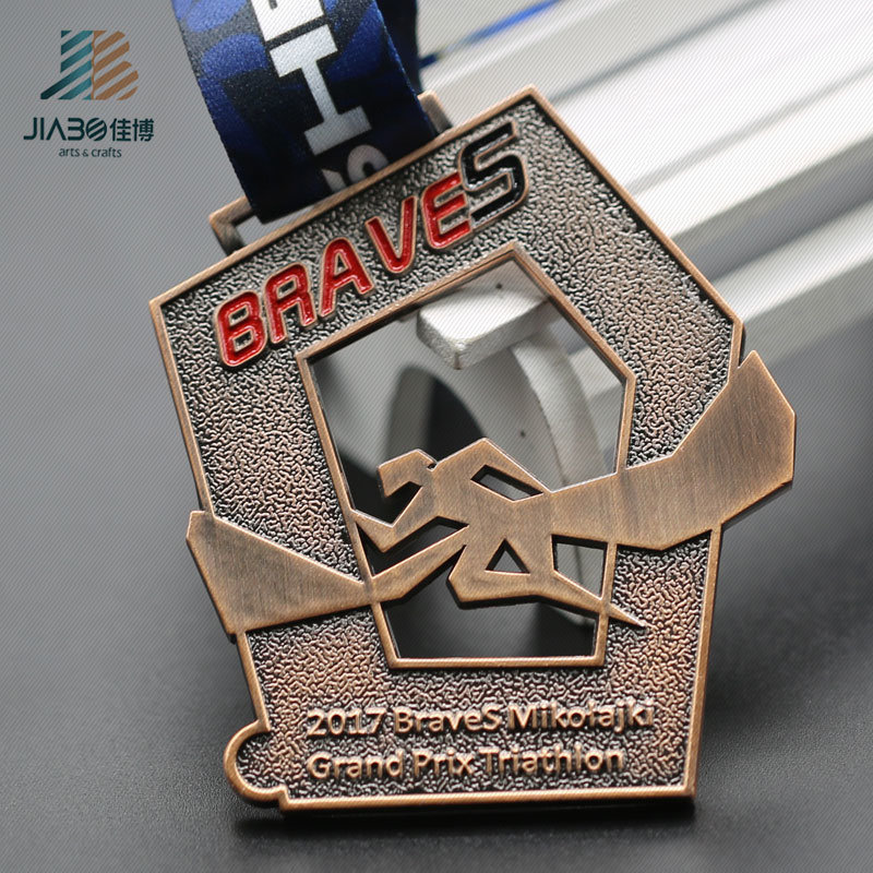Custom Hollow out Metal Running Sports Medal with Enamel