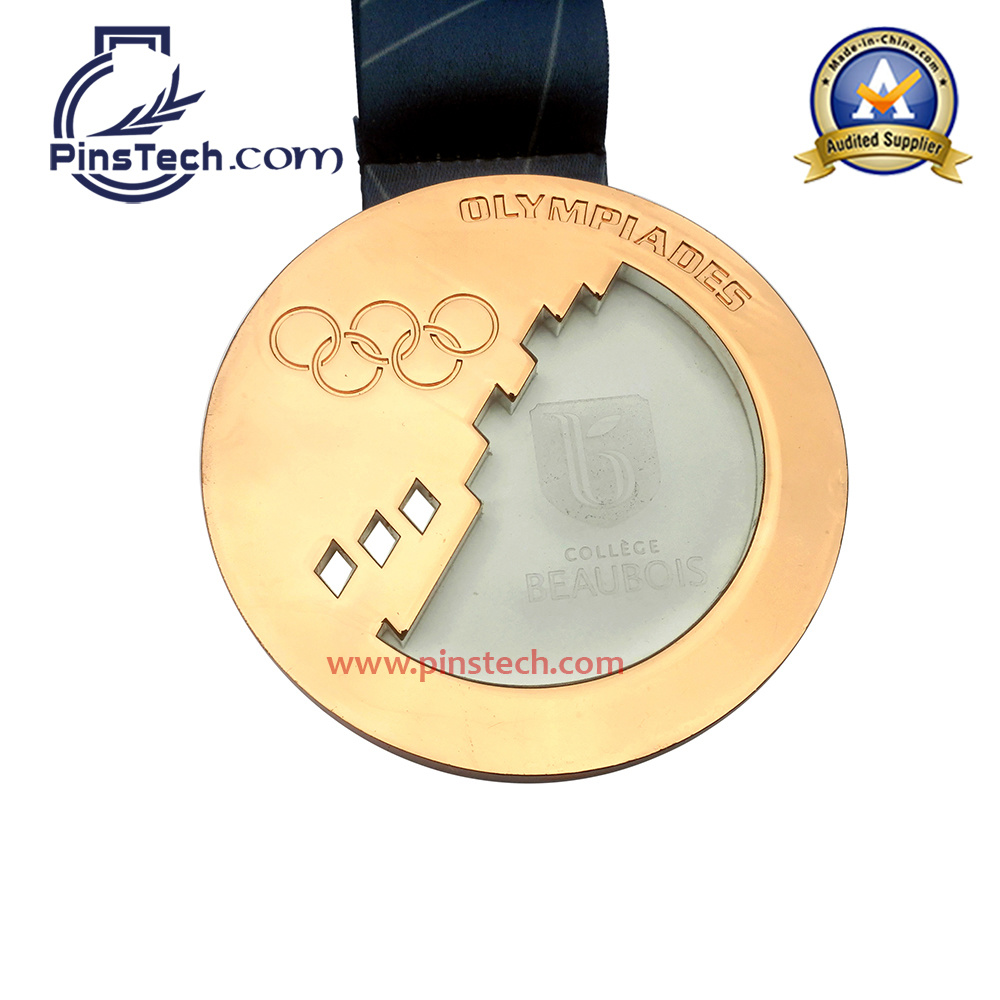 Customized Run Medal with Antique Silver Finish Relief Silk Screen Ribbon