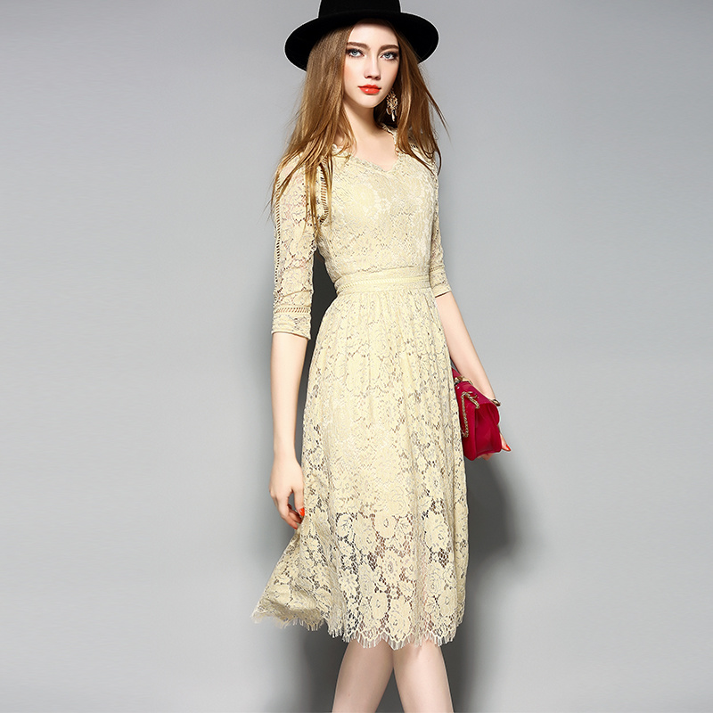 Hollow Floral Printed Lace Hem Sexy Slim Women Evening Dress