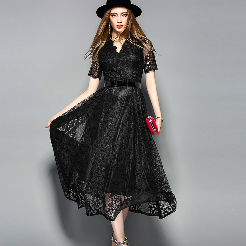 Black Hot Sale Belted Lace Dress for Women Clothes