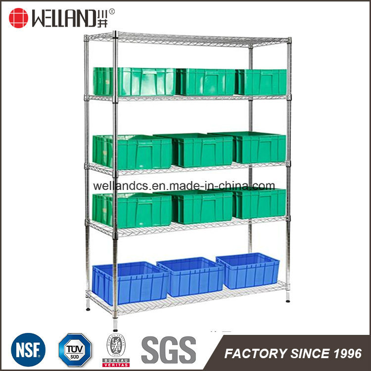 Warehouse Factory NSF 4 Tiers Adjustable Chrome Metal Storage Wire Shelving Rack