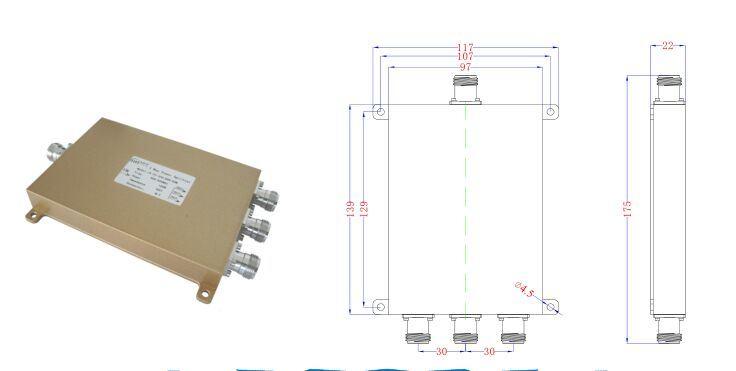GSM/FM/UHF/UMTS Microwave 300-960MHz 3 Way Power Divider (Power Splitter)