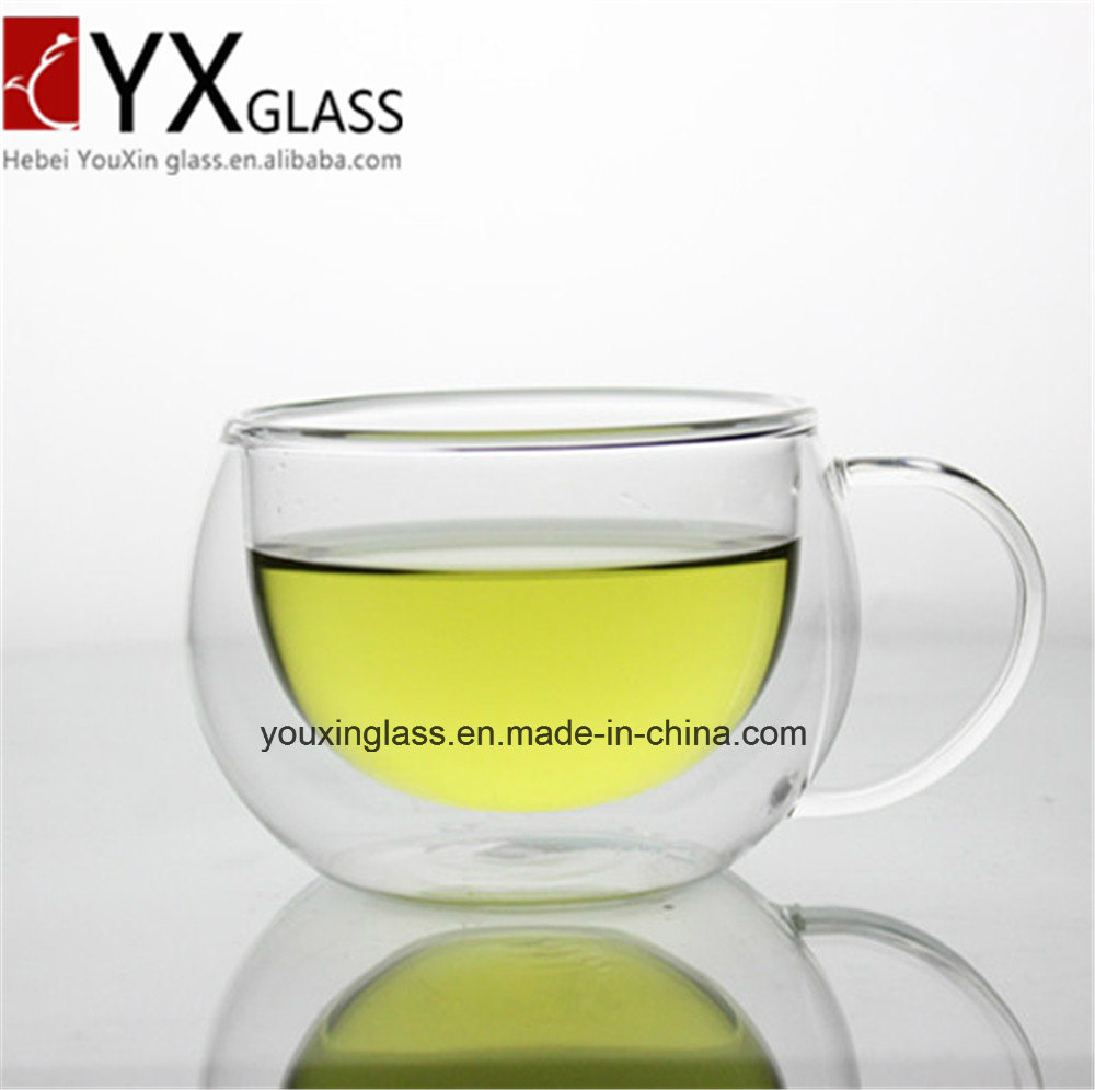 New Style Drinking Water Glass Tumbler Double Wall Glass Cup with Handle/Creative Gift Custom Made Eco-Friendly Double Wall Ice Beer Glass Cup