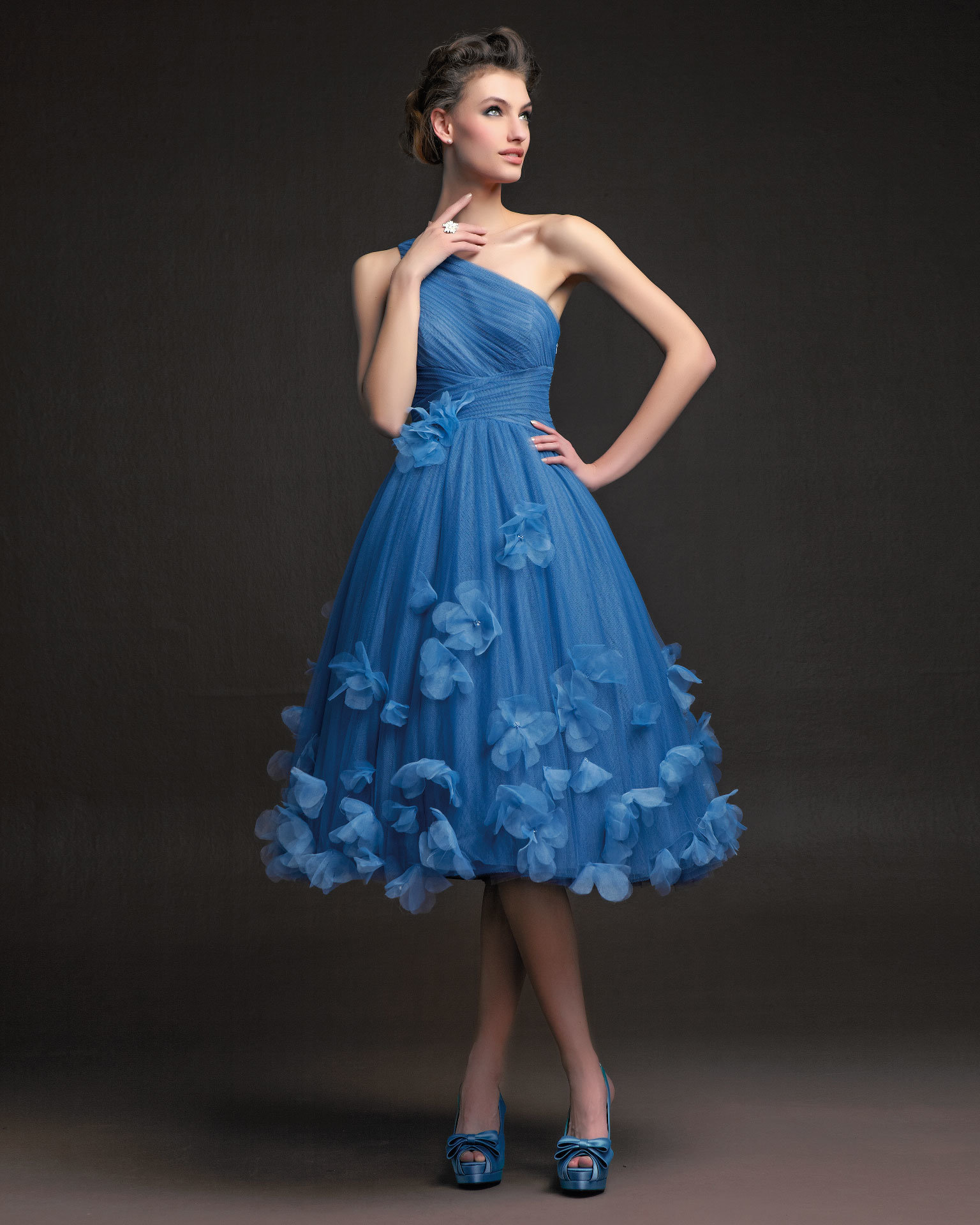 China 2014 newest handmade flower tea length tulle one for One shoulder tea length wedding dress