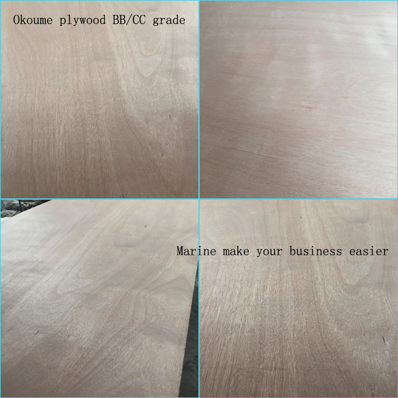 Okoume Face and Back Popalr Core E1 Glue Plywood