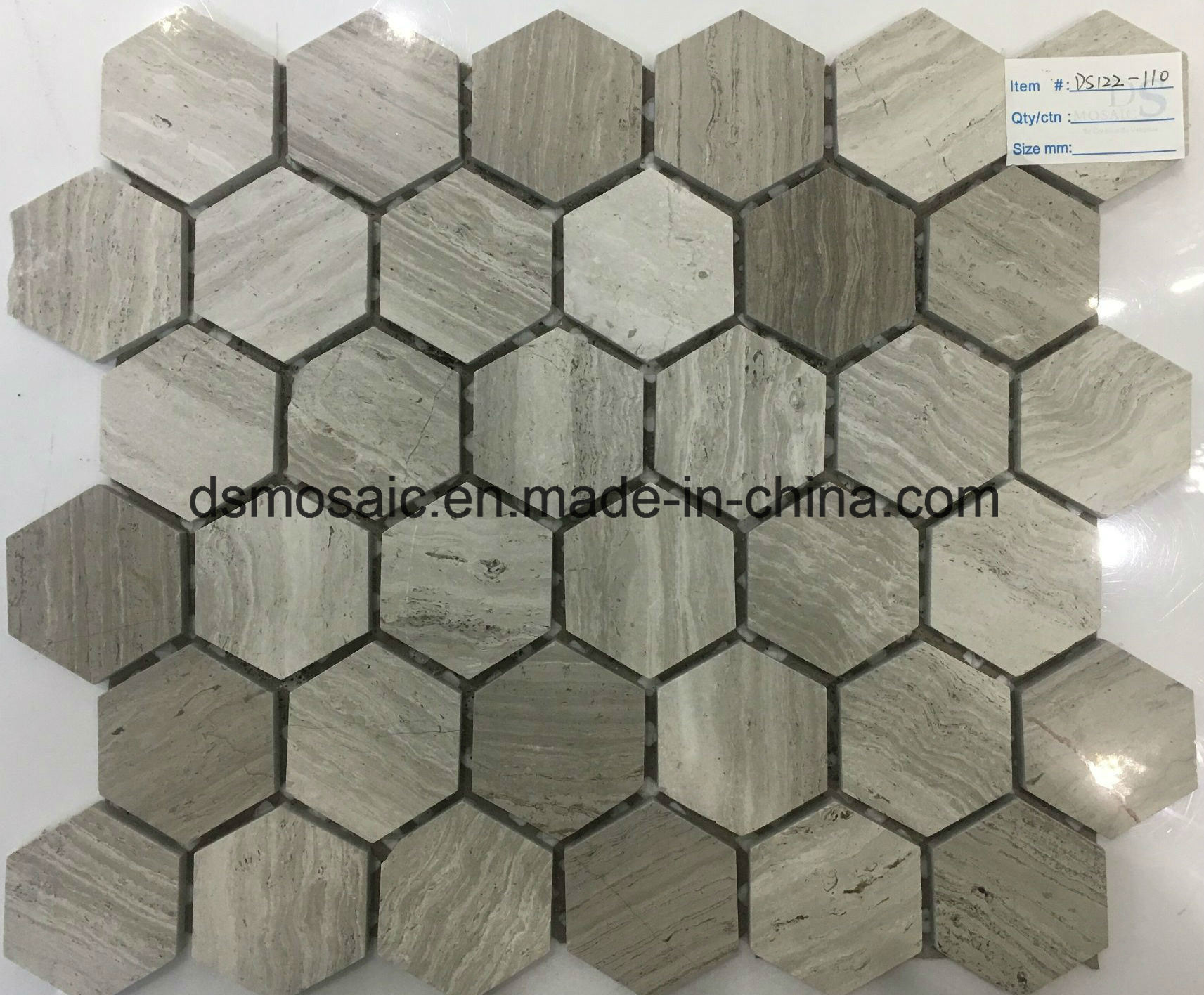 Wooden Grain Grey Hexagon Marble Mosaic Tile