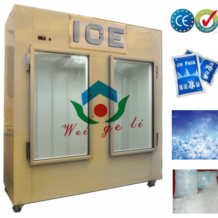 Fan Cooling Indoor Bagged Ice Display Freezer with Glass Doors